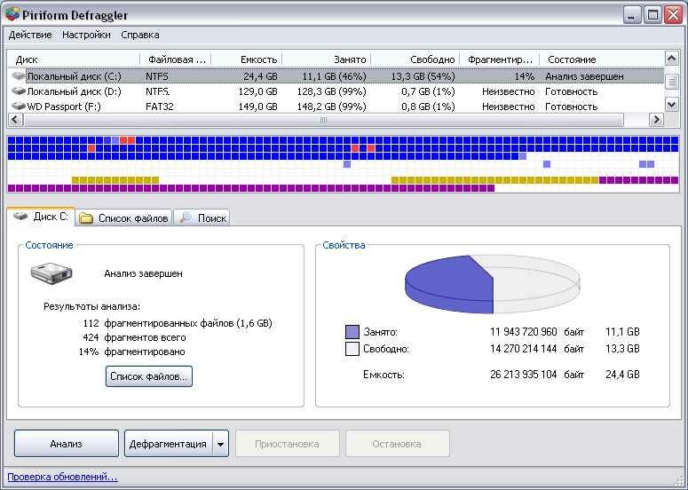Defraggler - программа для дефрагментации жестких дисков